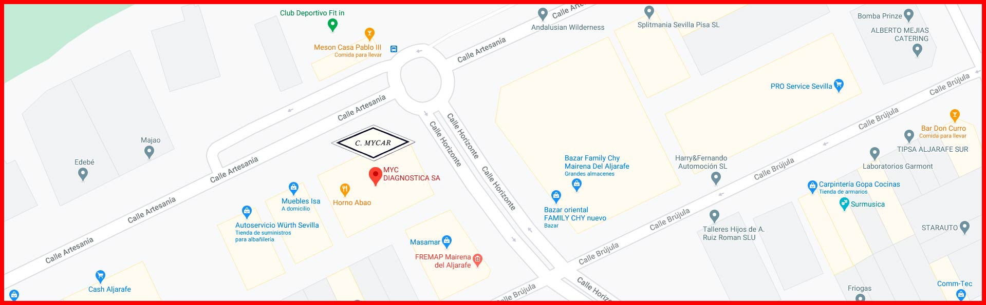 Mapa localizacion MYCDiagnostica Sevilla
